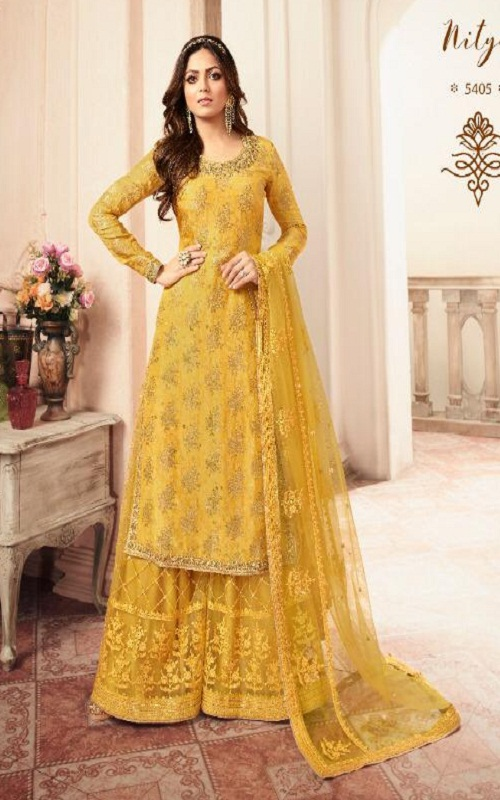Lt Fabrics Nitya 154 Summer Collection Dola Jacquard With Embroidery salwar suit 5405