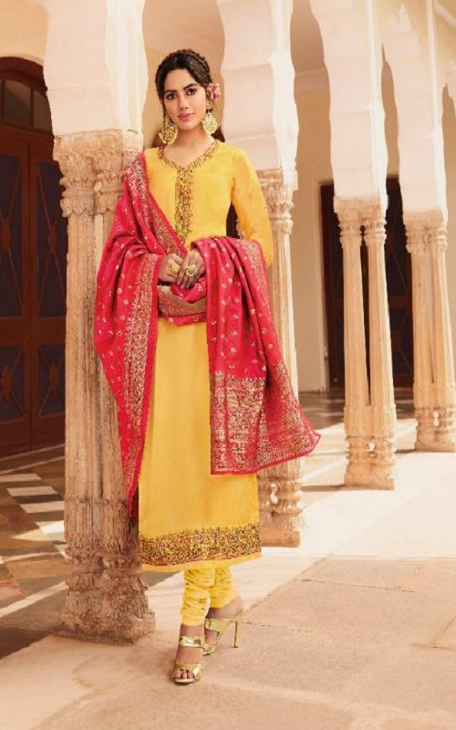Meera Trendz Zisa Banarasi -8 Summer Collection Satin Georgette Embroidered Salwar Suit 11722 - Copy