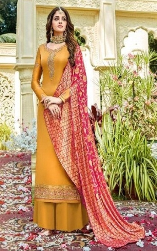 Rashi Prints Meera Summer Collection Satin Georgette With Heavy Embroidery Salwar Suit 424