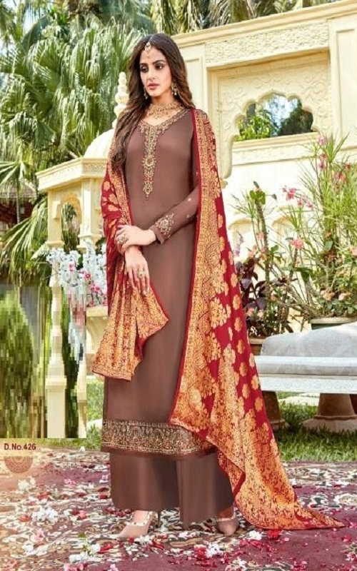 Rashi Prints Meera Summer Collection Satin Georgette With Heavy Embroidery Salwar Suit 426