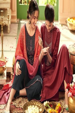 Vp Baandhani Winter Collection Pashmina Dobby Printed With Embroidery Salwar Suit 21007