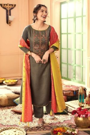 Vp Baandhani Winter Collection Pashmina Dobby Printed With Embroidery Salwar Suit 21010