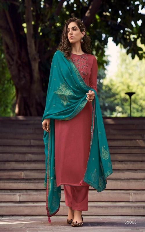 AGOG Deepsy Suits Royal Touch 3 Mini Silk With Self Embroidery Suit 86003