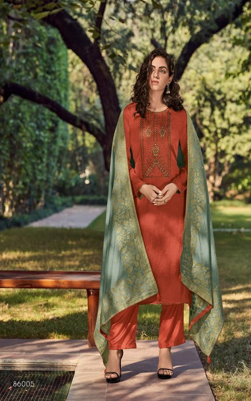 AGOG Deepsy Suits Royal Touch 3 Mini Silk With Self Embroidery Suits 86005