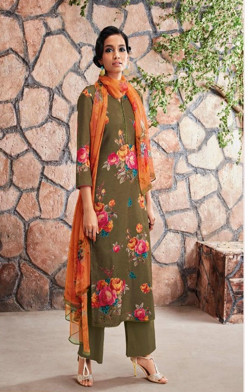AGOG Ganga Fashion Ardor Wool Dobby Printed With Siroski Work Suit c0445