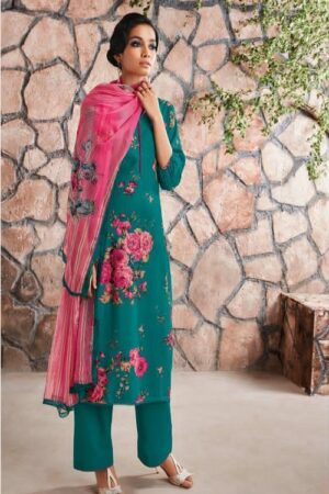 AGOG Ganga Fashion Ardor Wool Dobby Printed With Siroski Work Suit c0448