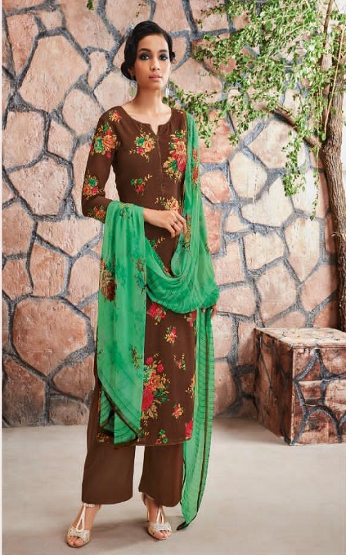 AGOG Ganga Fashion Ardor Wool Dobby Printed With Siroski Work Suits c0449