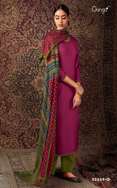 AGOG Ganga Fashion Laado 249 Wool Dobby Solid With Embroidery And Printed Daman Border Suits S0249-D