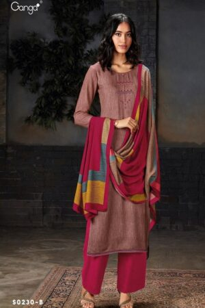 AGOG Ganga Pashmina Hima Plus S230 Wool Dobby With Embroidery And Handwork Suits S0230-B