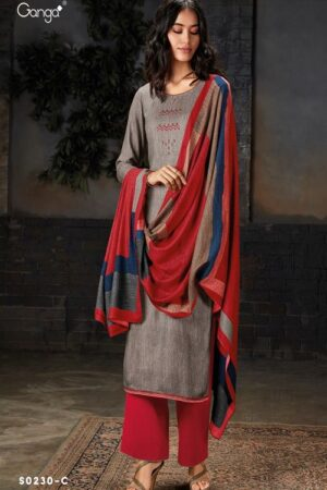 AGOG Ganga Pashmina Hima Plus S230 Wool Dobby With Embroidery And Handwork Suits S0230-C