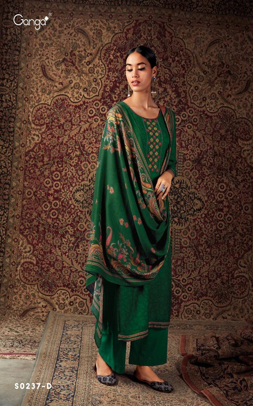 AGOG Ganga Pashmina Hima Plus S237 Wool Dobby WIth Embroidery And printed Daman Border Suit S0237-D