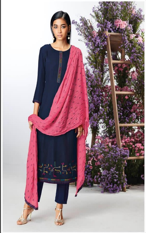 AGOG Ganga Pashmina Kefi Wool Dobby Solid With Embroidery Suits C0438