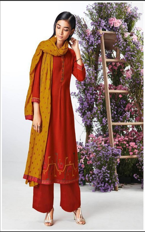 AGOG Ganga Pashmina Kefi Wool Dobby Solid With Embroidery Suits C0439