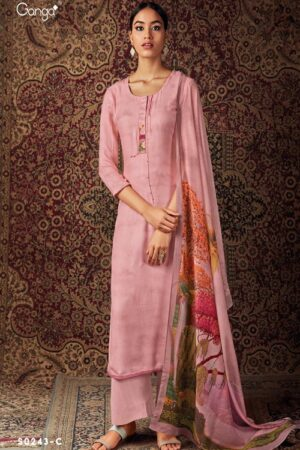 AGOG Ganga Pashmina Nishi S243 Wool Dobby Printed With Embroidery And Handwork And Printed Neckline Suits S0243-C