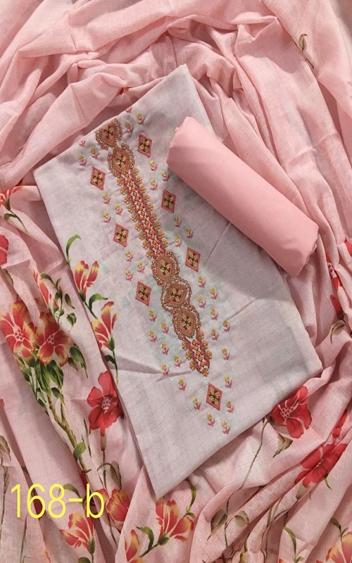 AGOG Non Catalog 168 Pure Cotton Muslin Original Digital Print With Exclusive Embroidery Suits 168-B