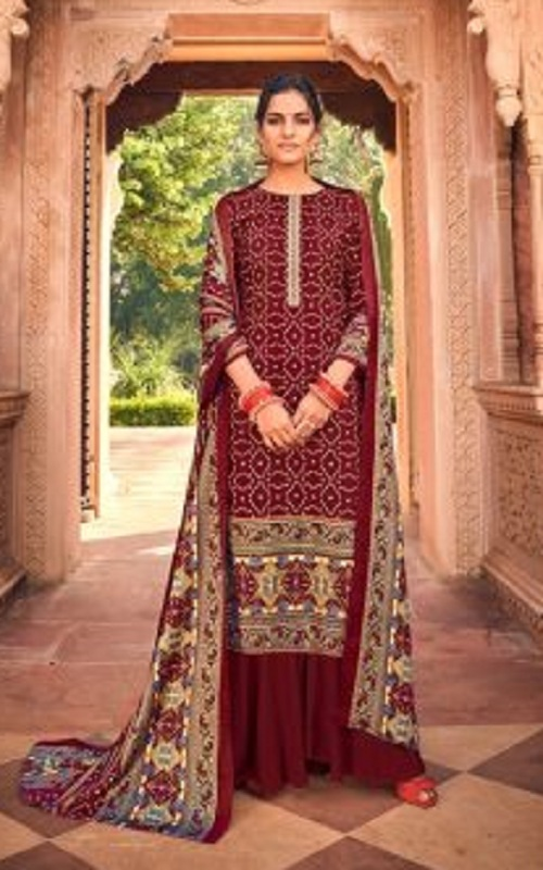 Belliza Designer Studio Aura (Super Hot) Pure Pashmina Digital Style Print With Kashmiri Embroidery Work Suit 465-007 - Copy