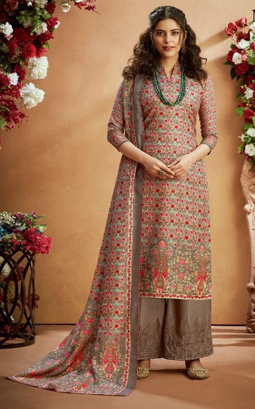 Alok Suit Noorani Winter Collection Pure Wool Pashmina Print With Swarovski Diamond Work Suit 531-006