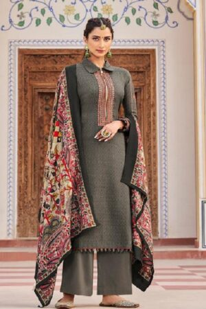 Mumtaz Arts Jamdani Pure Pashmina Dobby Print With Kashmiri Embroidery on Neck and Sleeves Suit 5001 - Copy