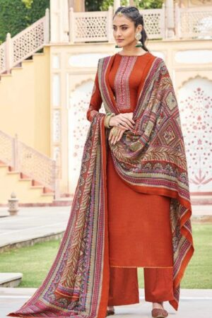 Mumtaz Arts Jamdani Pure Pashmina Dobby Print With Kashmiri Embroidery on Neck and Sleeves Suit 5010