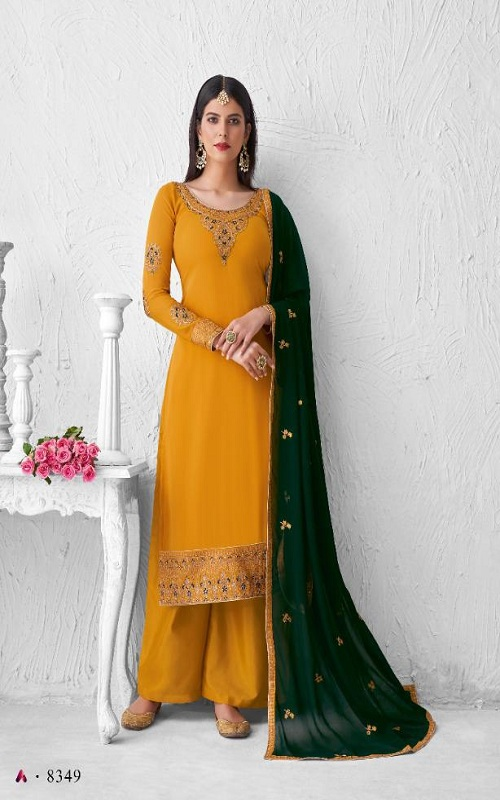 Aashirwad Saffron Summer Collection Real Georgette With Work Salwar Suits 8349