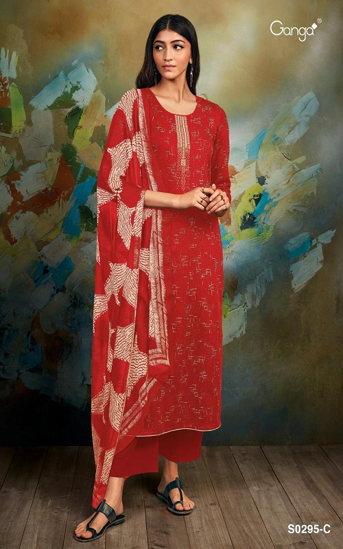 Ganga Fashions Mishti S0295 Summer Collection Silky Satin Printed With Embroidery Salwar Suits S0295-C