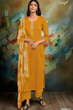 Ganga Fashions Mishti S0295 Summer Collection Silky Satin Printed With Embroidery Salwar Suits S0295-D