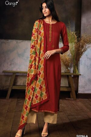 Ganga Fashions Myra S0294 Summer Collection Silky Satin Printed With Embroidery Suit S0294-A