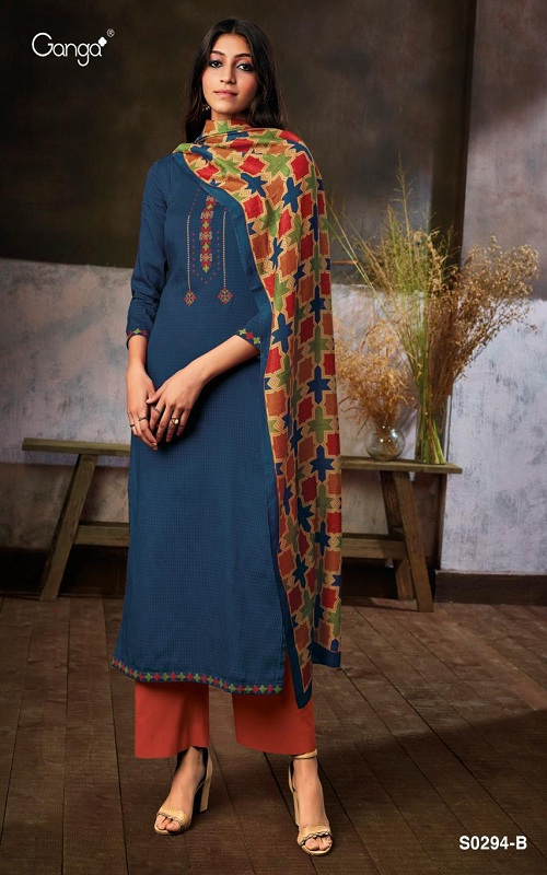 Ganga Fashions Myra S0294 Summer Collection Silky Satin Printed With Embroidery Suit S0294-B