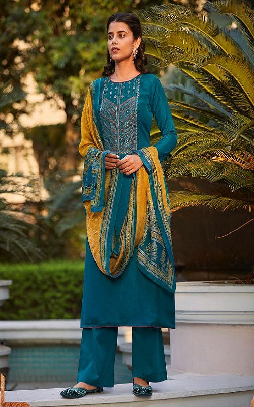 Karva Desiner Studio Isharaa Summer Collection Soft Silk Self Dot Pattern With Fancy Embroidery Suit 42002