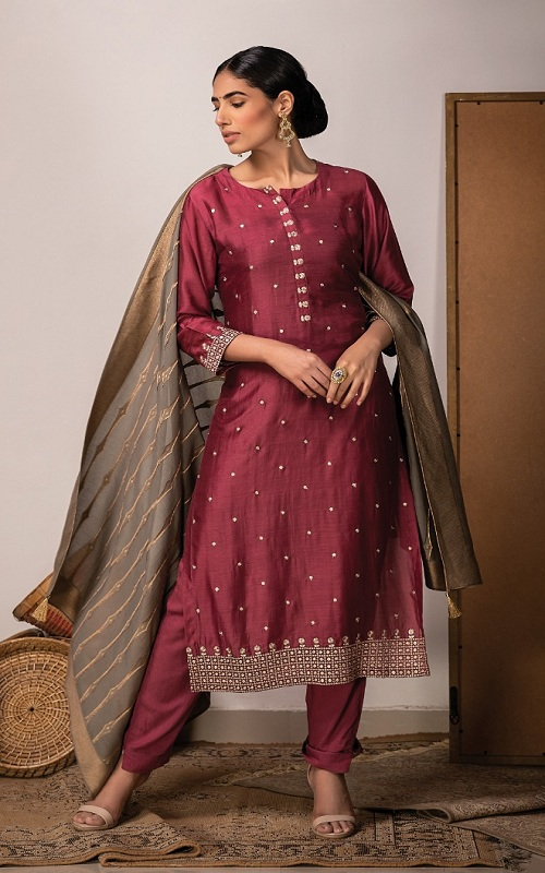 Naariti Nafisa Summer Collection Russian Silk With Embroidery Panel Salwar Suit 8509 B 2