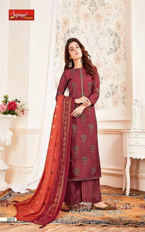Salvi Fashion Soft Silk Vol No-3 Summer Collection Royal Silk Foil Print With Embroidery Work Suit 3002 (2)
