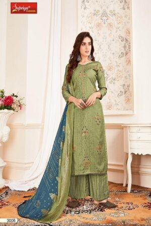 Salvi Fashion Soft Silk Vol No-3 Summer Collection Royal Silk Foil Print With Embroidery Work Suit 3006 - Copy