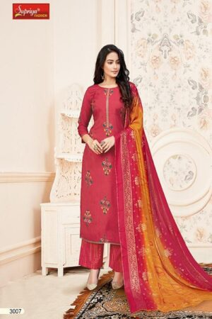 Salvi Fashion Soft Silk Vol No-3 Summer Collection Royal Silk Foil Print With Embroidery Work Suit 3007