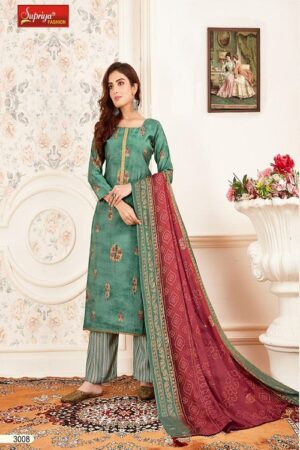 Salvi Fashion Soft Silk Vol No-3 Summer Collection Royal Silk Foil Print With Embroidery Work Suit 3008