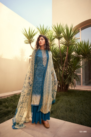 BELLIZA DESIGNER STUDIO BLISS: 100% pure jam cotton print with heavy fancy embroidery ( (2.50 mtrs) 521-005