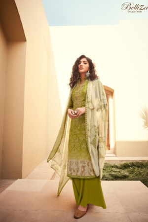 BELLIZA DESIGNER STUDIO BLISS: 100% pure jam cotton print with heavy fancy embroidery ( (2.50 mtrs) 521-010