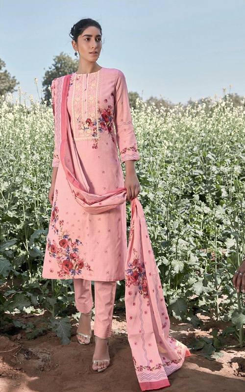 Sahiba Tm Rosebud Summer Collection Pure Linen Digital Print With Embroidery Neck and Handwork 906